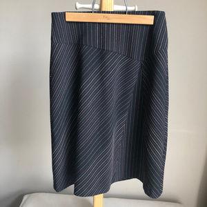 Ann Taylor Loft Striped A-line midi skirt 0P
